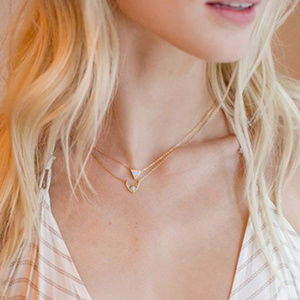 Jewelry - 14K Gold Plated Round Opal Necklace